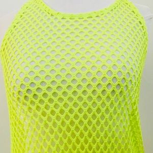 Neon Yellow Crochet Swim Suit Cover Up